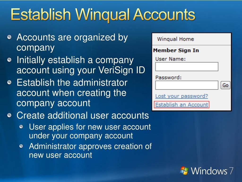 Establish Winqual Accounts