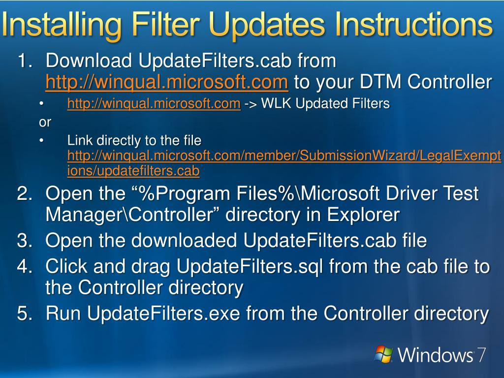 Installing Filter Updates Instructions