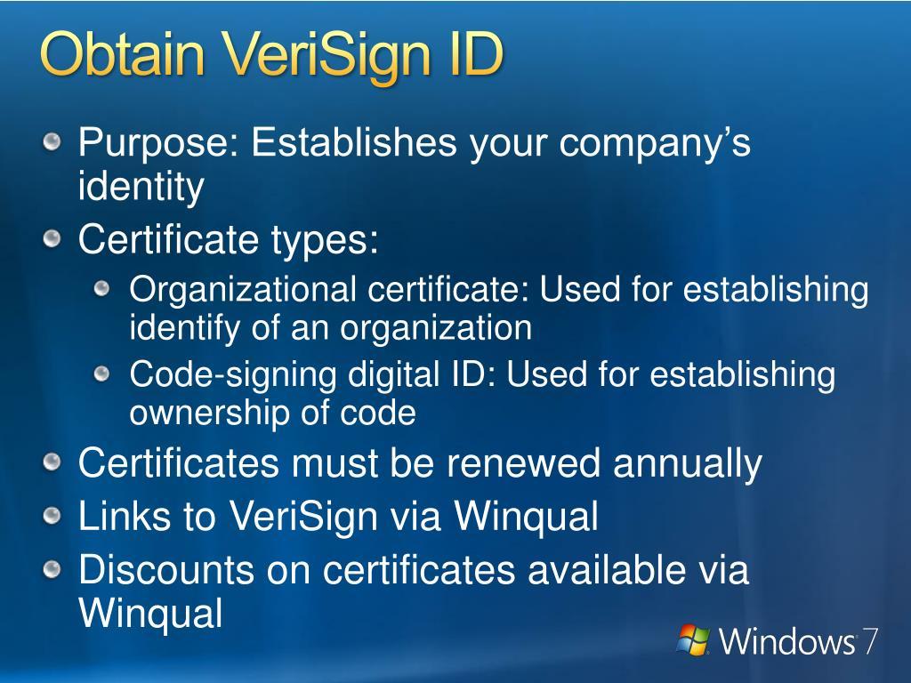 Obtain VeriSign ID