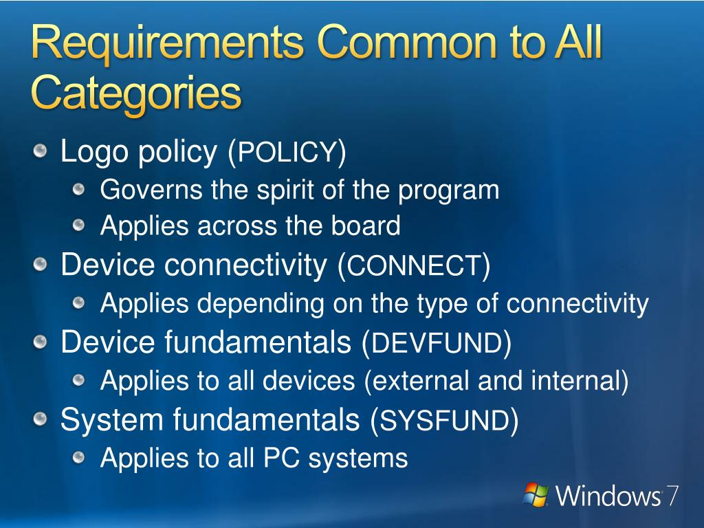 Requirements Common to All Categories