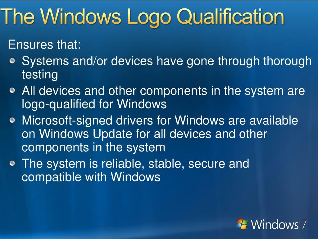 The Windows Logo Qualification