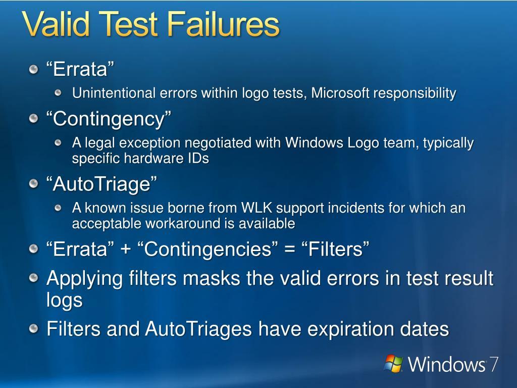 Valid Test Failures