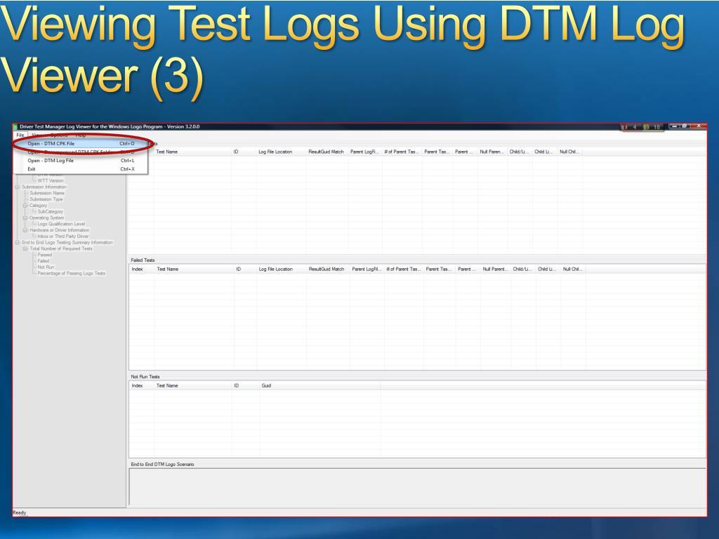 Viewing Test Logs Using DTM Log Viewer (3)