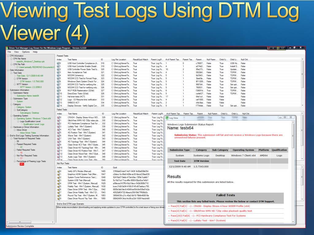 Viewing Test Logs Using DTM Log Viewer (4)