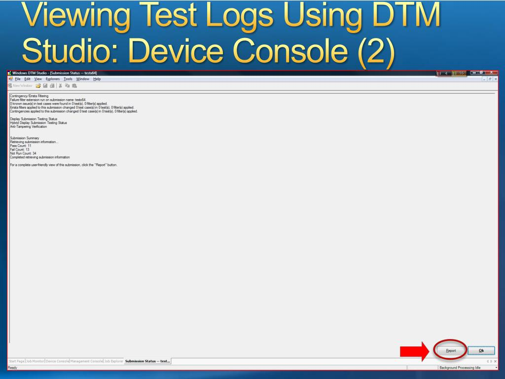 Viewing Test Logs Using DTM Studio: Device Console (2)