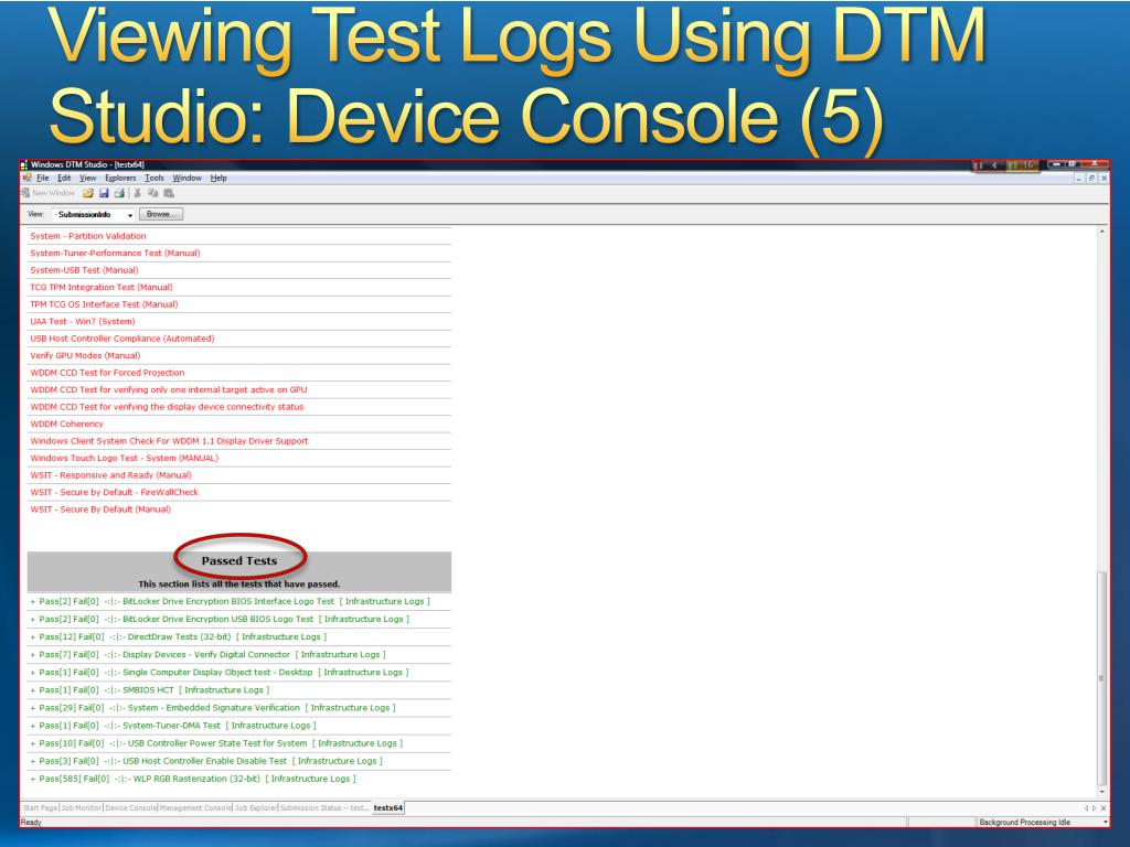 Viewing Test Logs Using DTM Studio: Device Console (5)