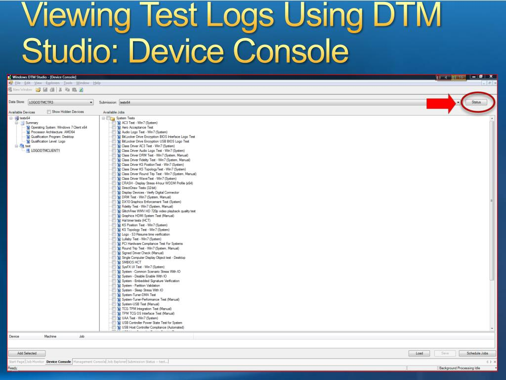 Viewing Test Logs Using DTM Studio: Device Console