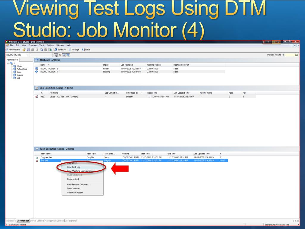 Viewing Test Logs Using DTM Studio: Job Monitor