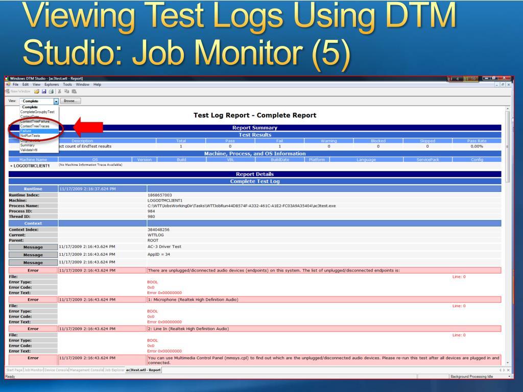 Viewing Test Logs Using DTM Studio: Job Monitor (5)