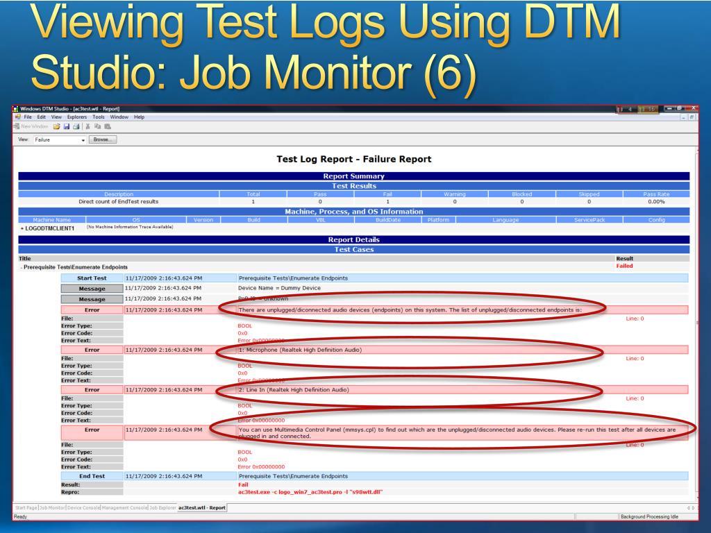 Viewing Test Logs Using DTM Studio: Job Monitor (6)