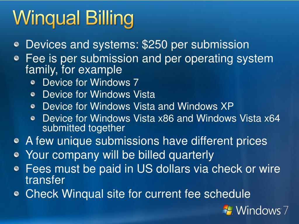 Winqual Billing