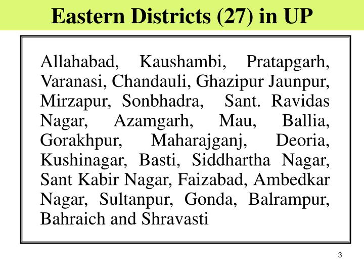 Eastern Districts (27) in UP
