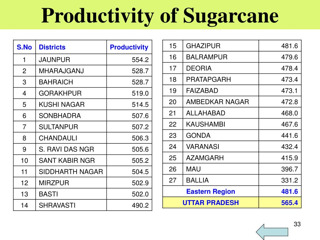 Productivity of Sugarcane