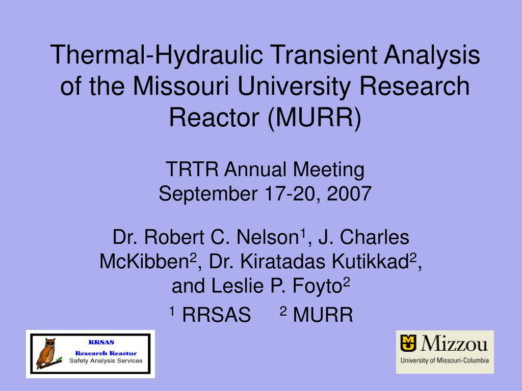 Thermal-Hydraulic Transient Analysis of the Missouri University Research Reactor (MURR)