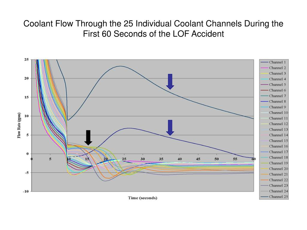 Coolant Flow Through the 25 Individual Coolant Channels During the First 60 Seconds of the LOF Accident