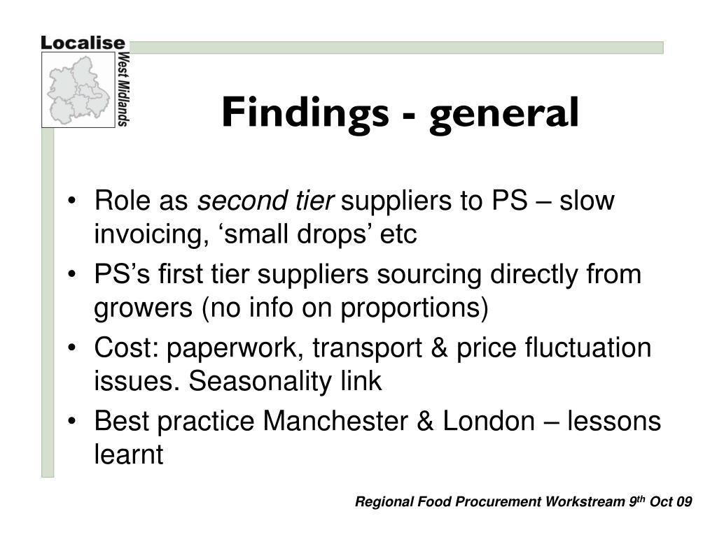 Findings - general