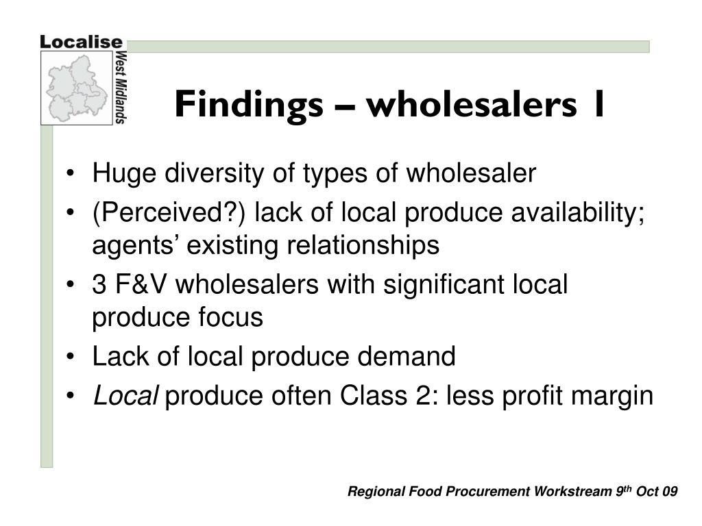 Findings – wholesalers 1