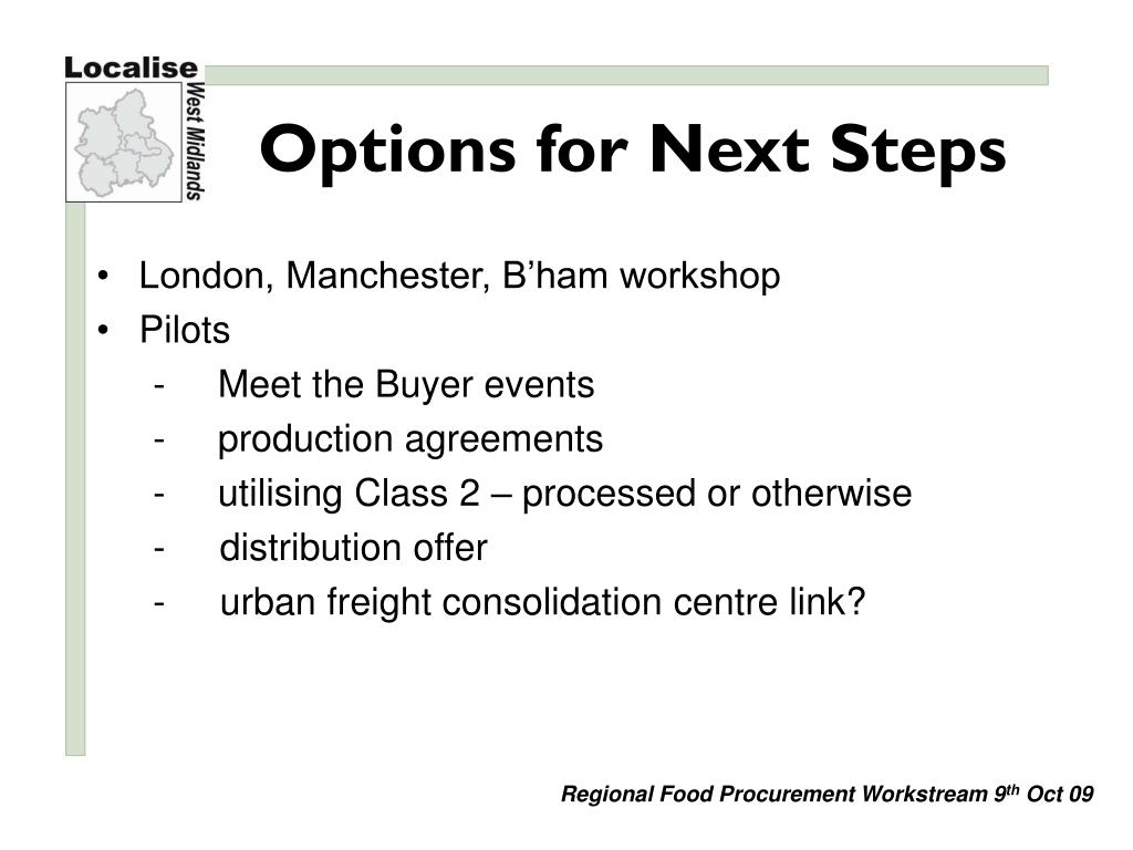 Options for Next Steps