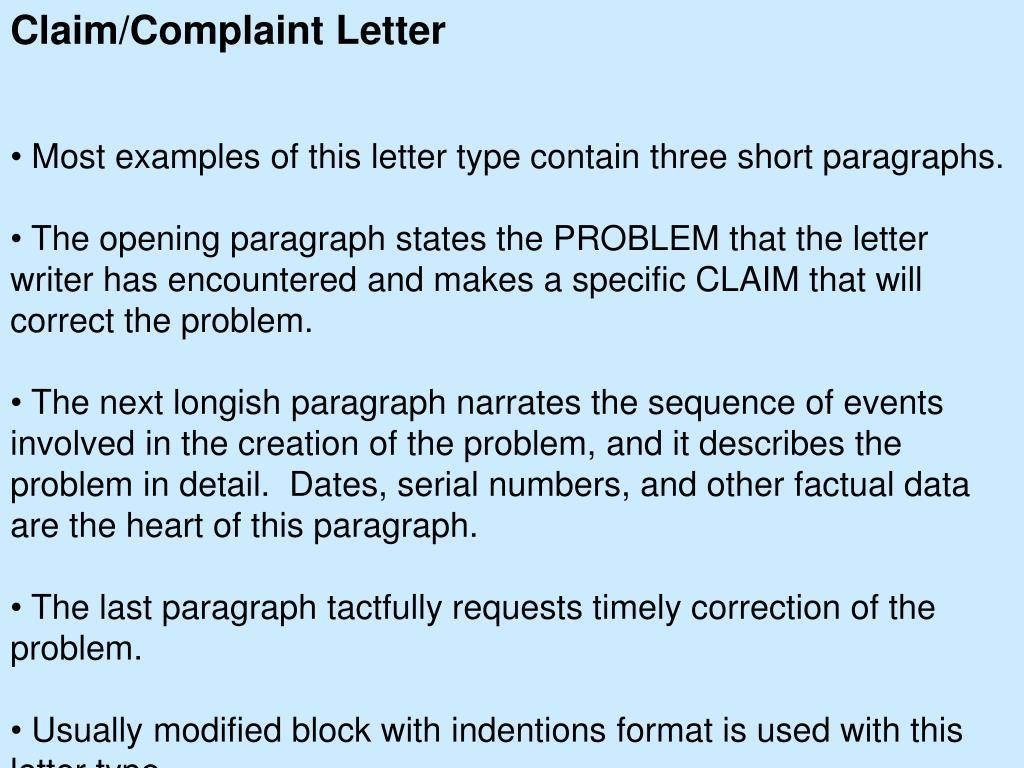 Claim/Complaint Letter