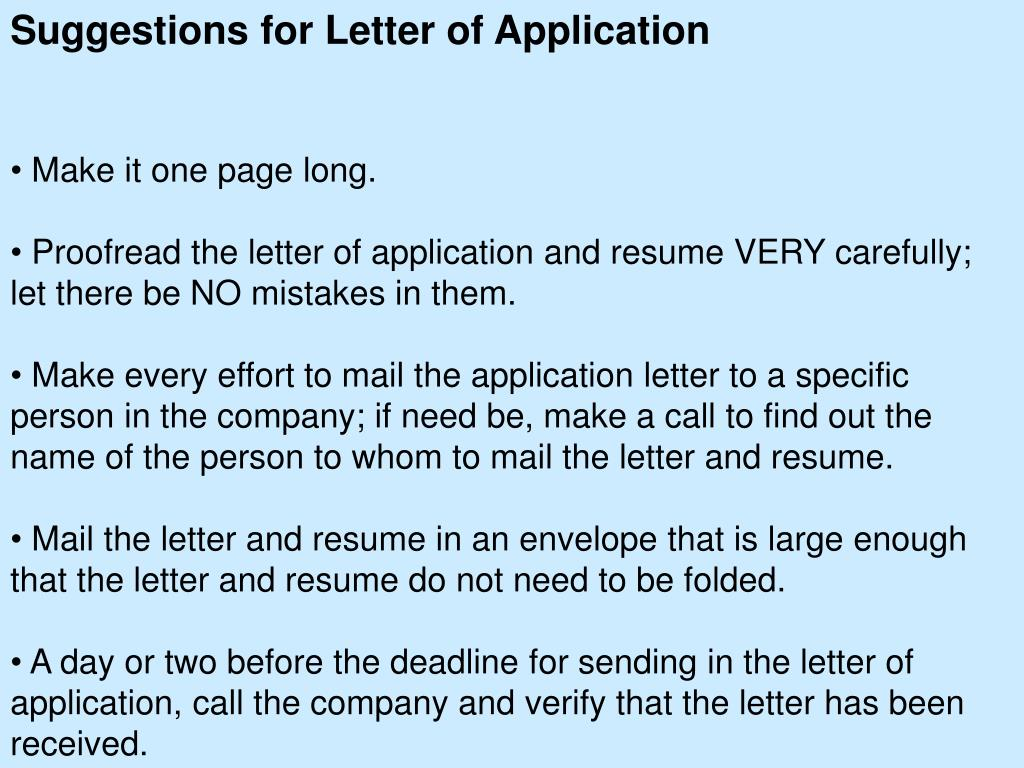 Suggestions for Letter of Application