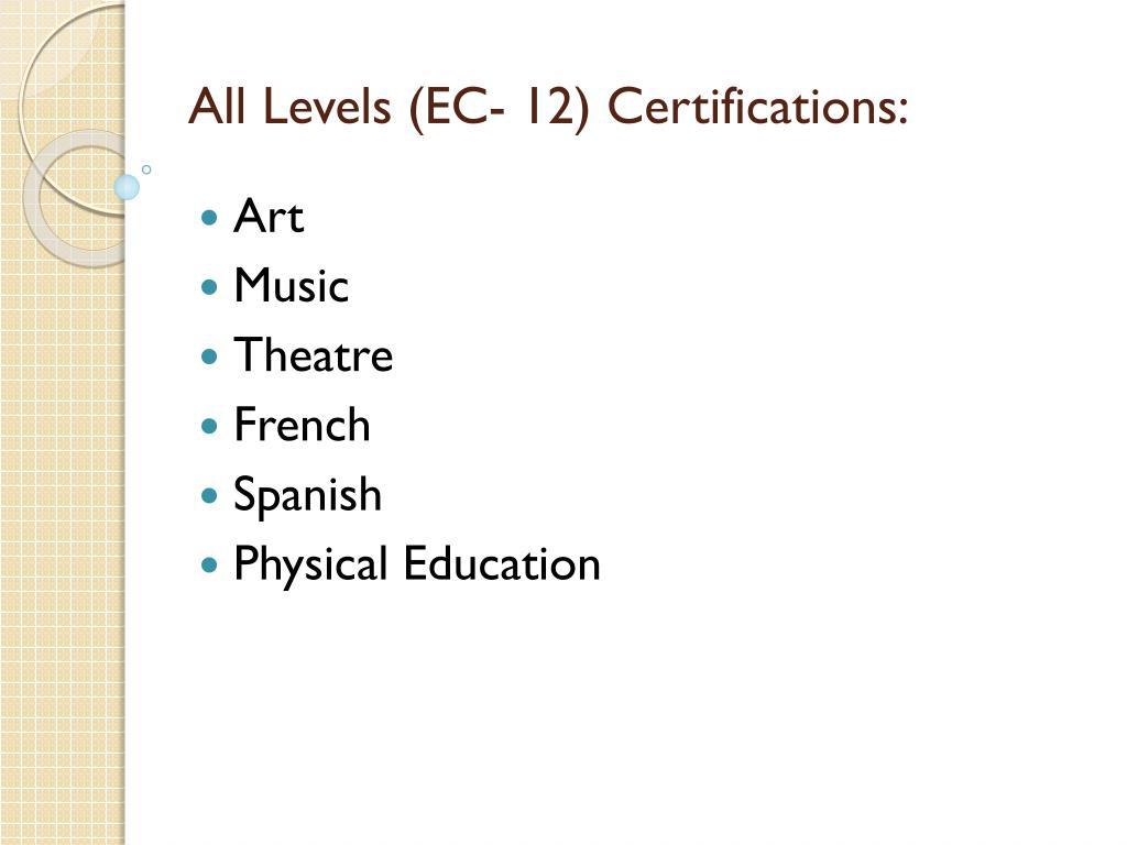 All Levels (EC- 12) Certifications: