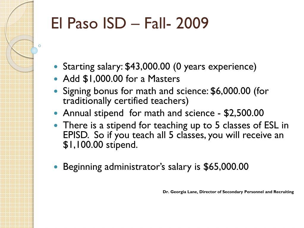 El Paso ISD – Fall- 2009