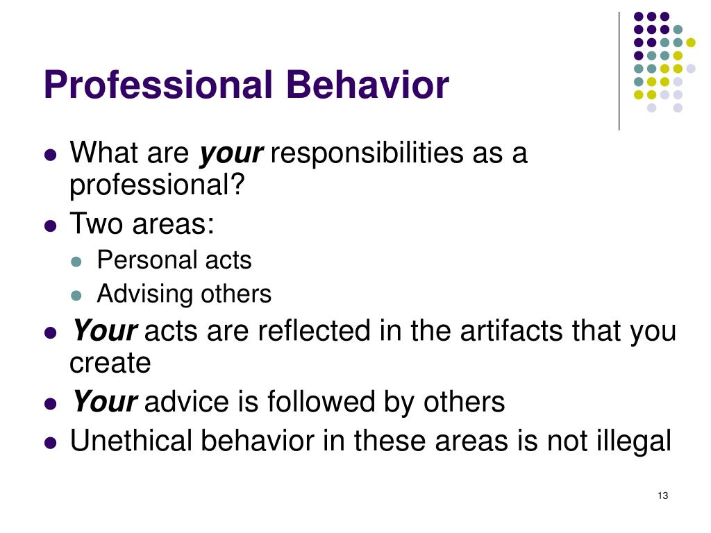 Professional Behavior