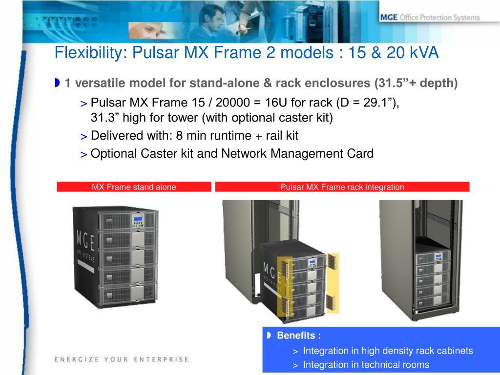 Flexibility: Pulsar MX Frame 2 models : 15 & 20 kVA