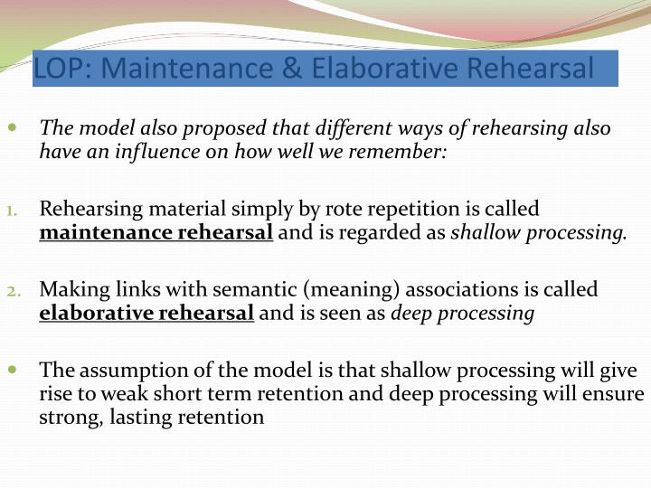 effects of deep and shallow processing on memory Pdf | on aug 31, 2015, andré haese and others published effects of deep semantic and shallow perceptual encoding on memory performance in children and adults.