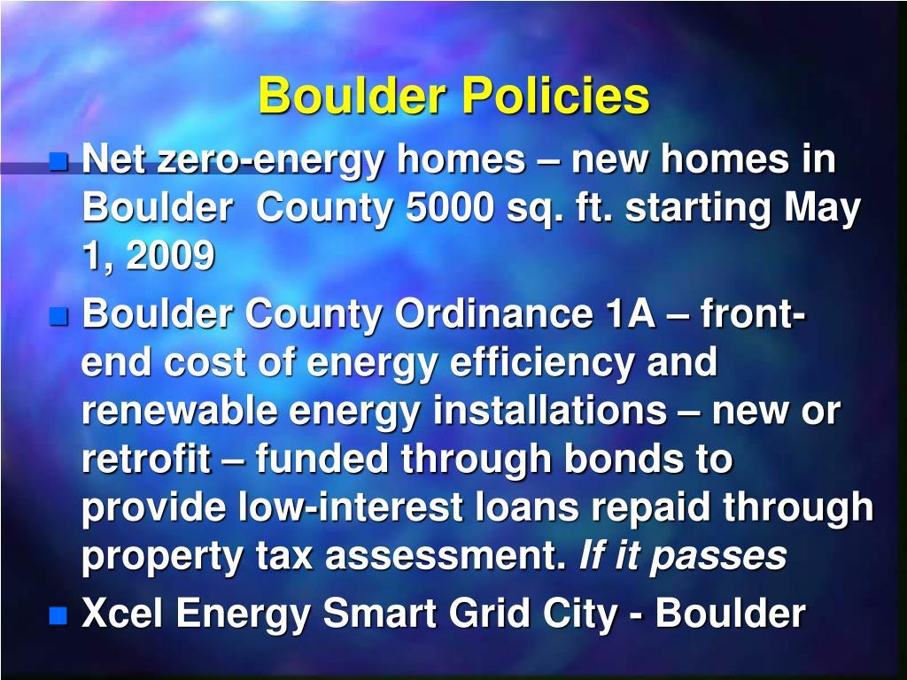 Boulder Policies