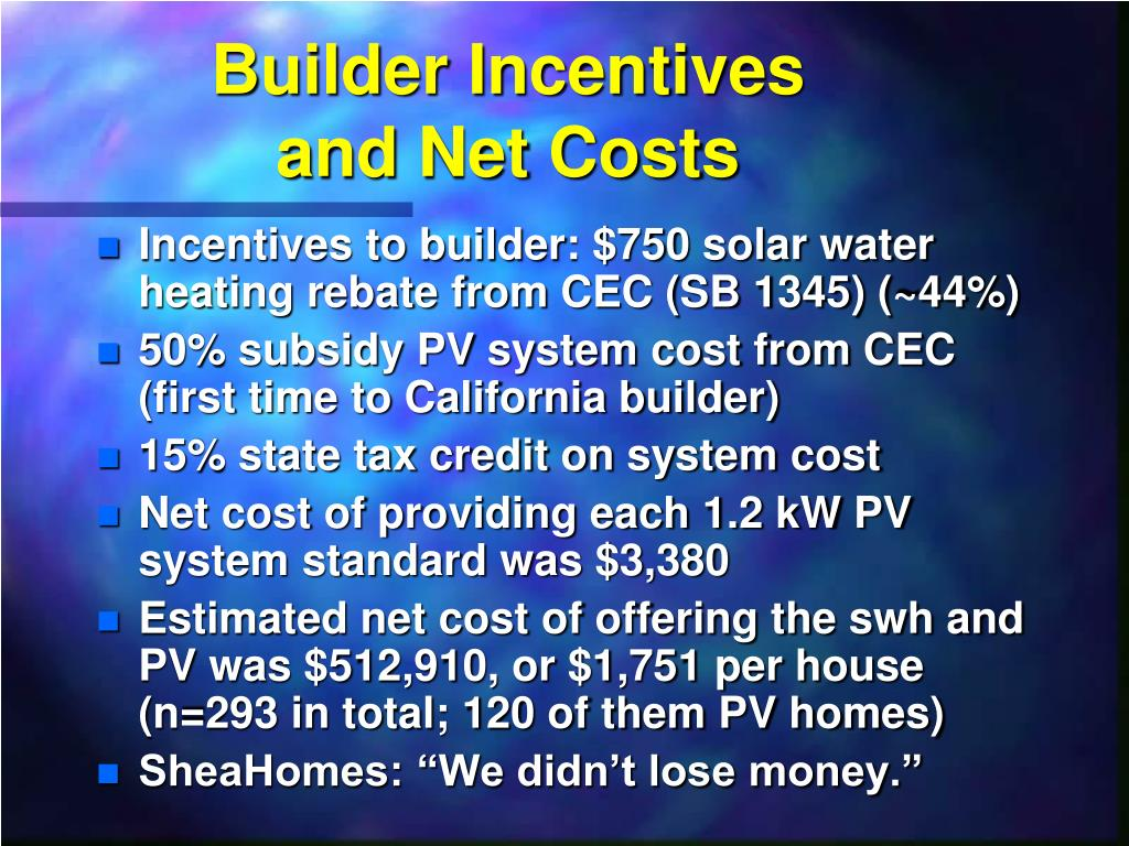 Builder Incentives