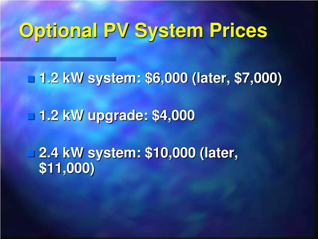 Optional PV System Prices