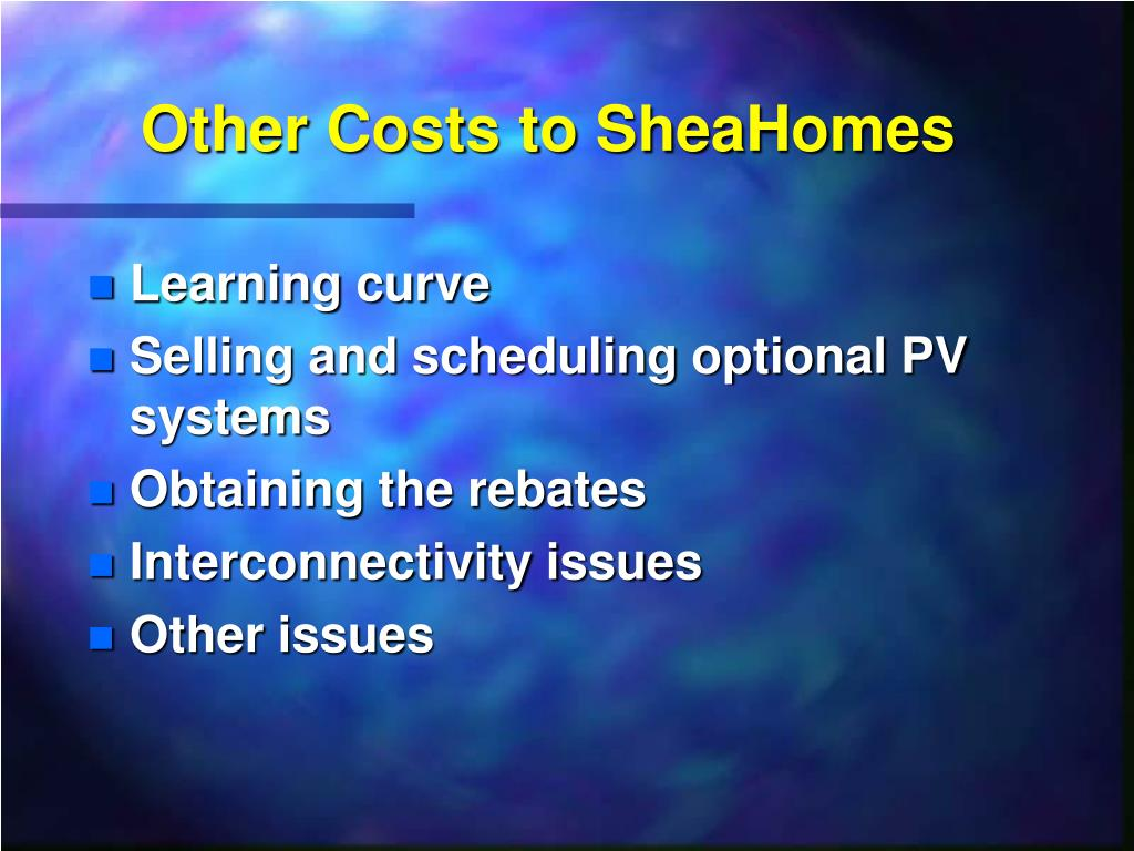 Other Costs to SheaHomes