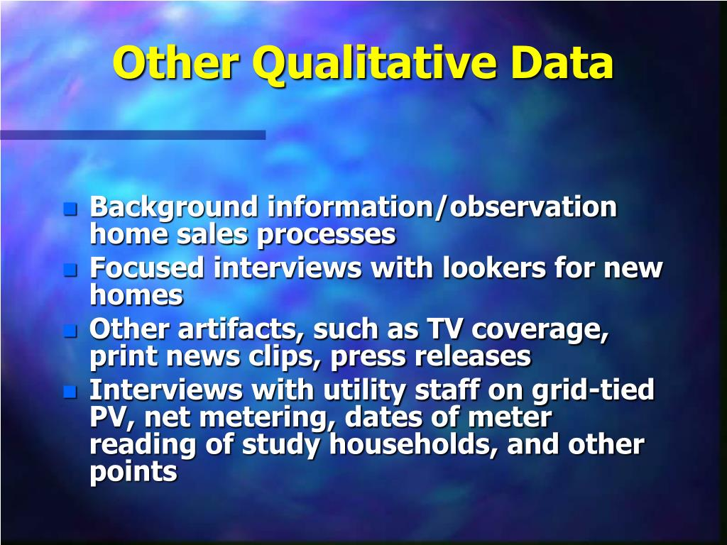 Other Qualitative Data