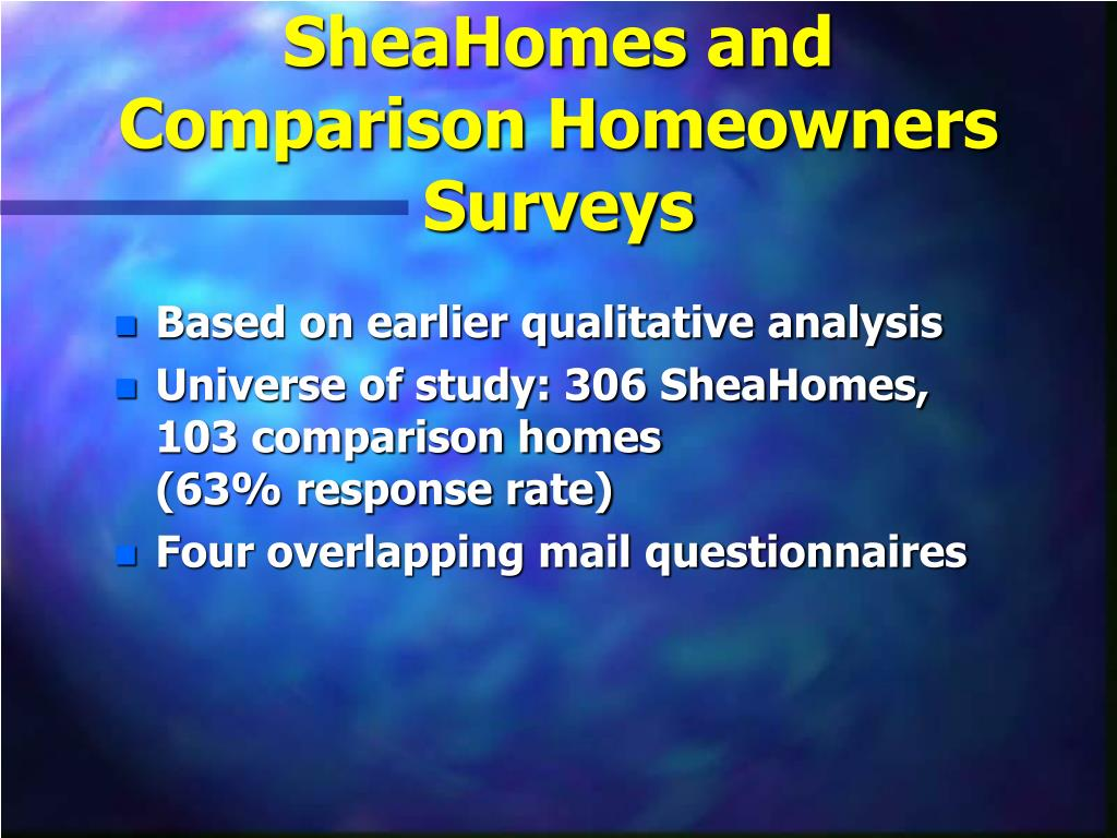 SheaHomes and Comparison Homeowners Surveys