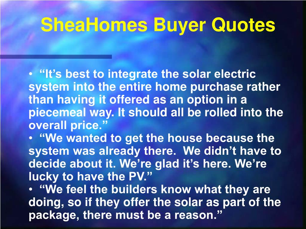 SheaHomes Buyer Quotes
