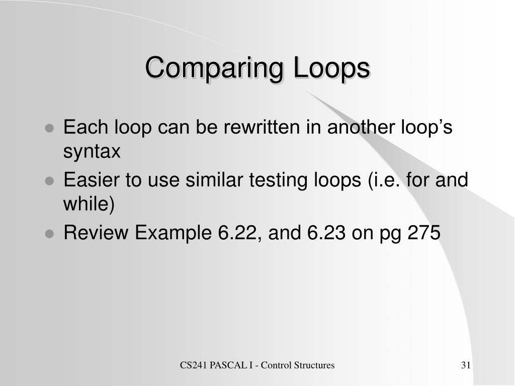 Comparing Loops