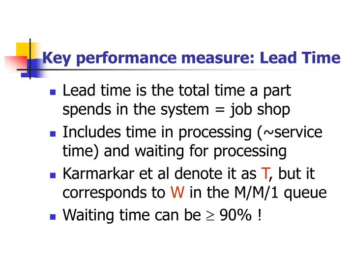 Key performance measure lead time