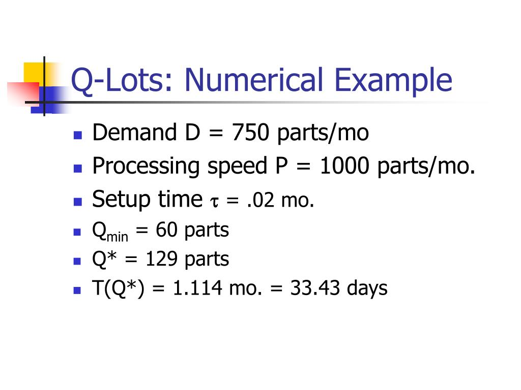 Q-Lots: Numerical Example