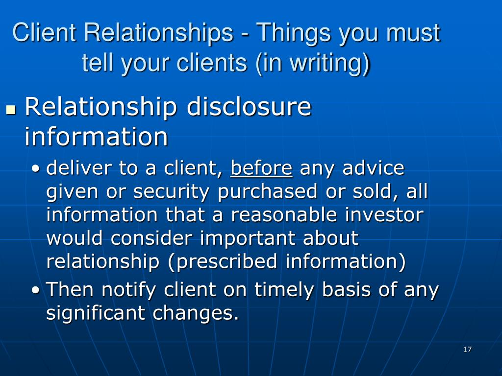 Client Relationships - Things you must tell your clients (in writing)
