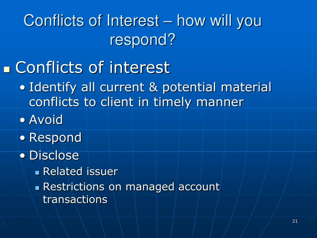 Conflicts of Interest – how will you respond?