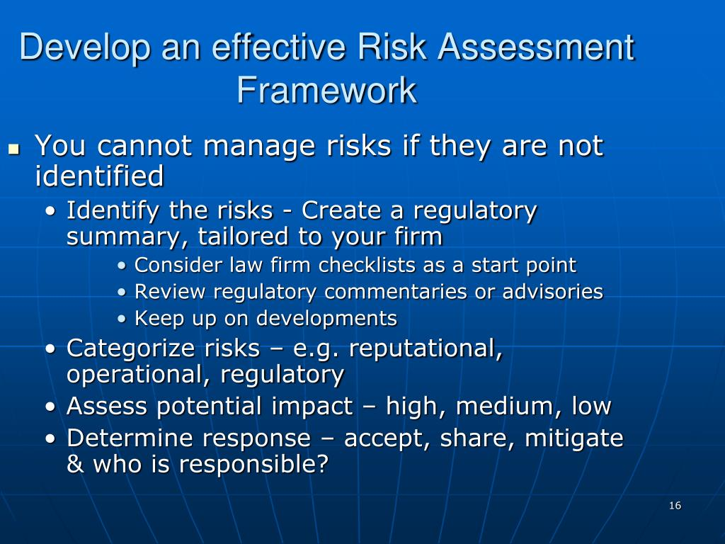 Develop an effective Risk Assessment Framework