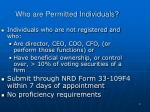 who are permitted individuals