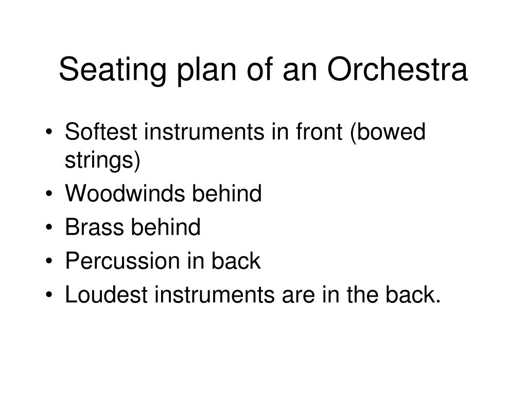 Seating plan of an Orchestra