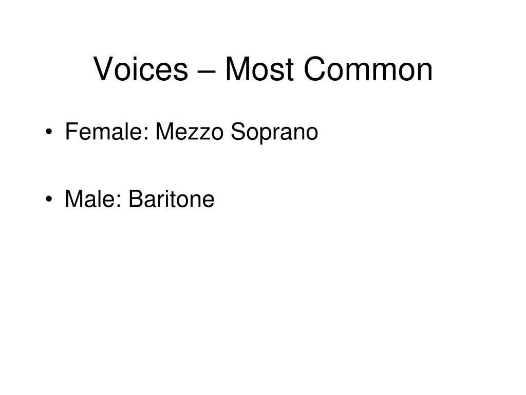 Voices – Most Common