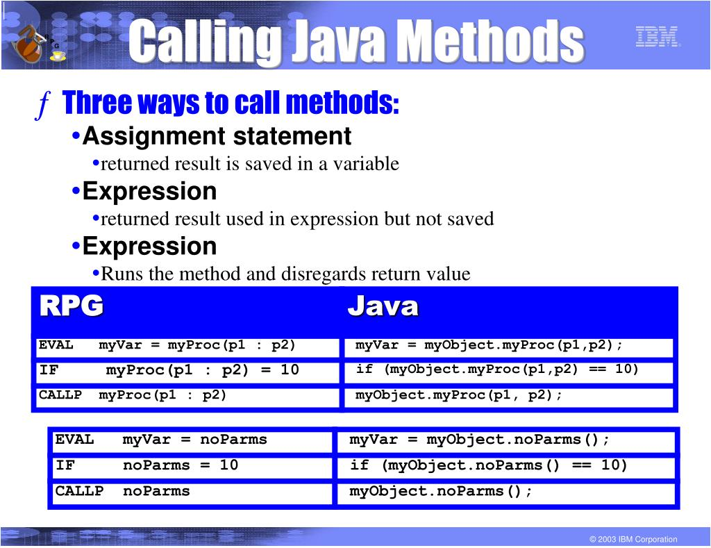 Calling Java Methods