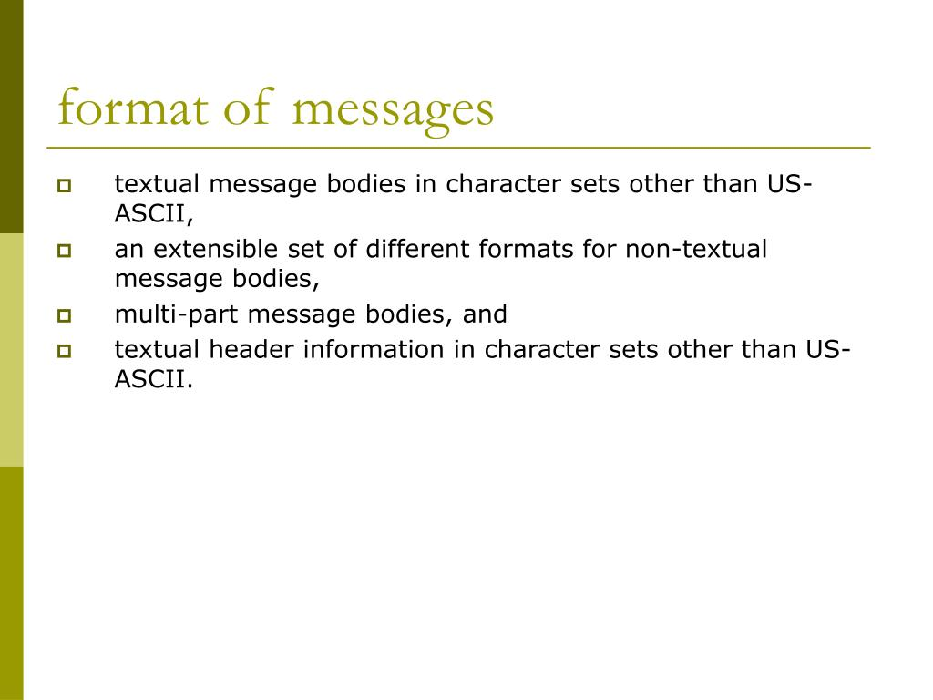 format of messages