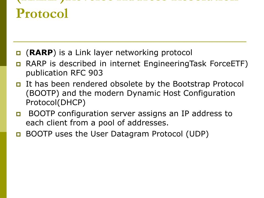 (RARP)Reverse Address Resolution Protocol