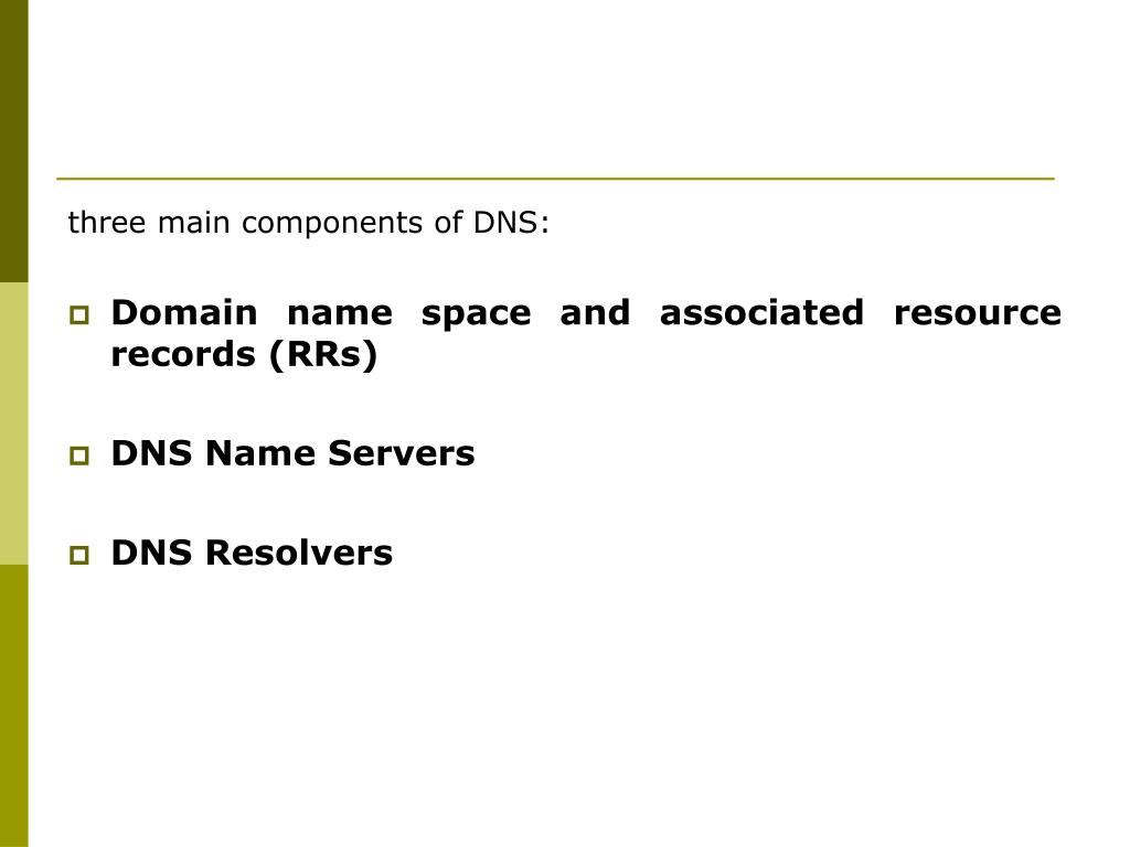 three main components of DNS: