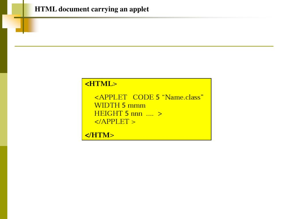 HTML document carrying an applet